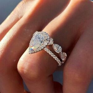 NEW Gorgeous 2pcs/set 925 Silver Wedding Rings